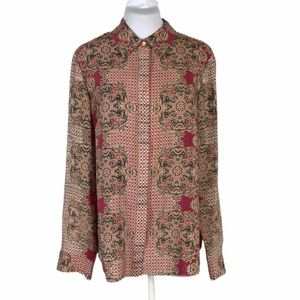 Antonio Melani Button Down Silk Floral Check Shirt